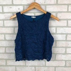 Free People Intimately Free Navy Blue Crop Top M